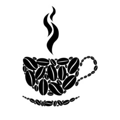 Cup of coffee. Black and white concept.