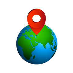 Map pin pointer icon on earth  Europe zone