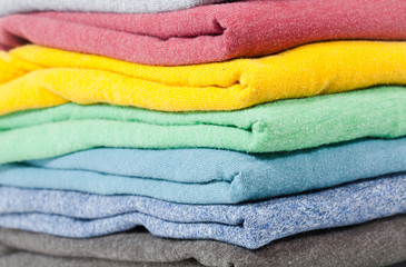 Folded colored shirts
