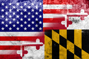 USA and Maryland State Flag with a vintage and old look