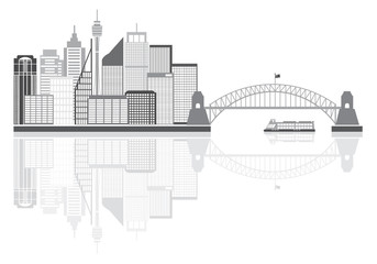 Sydney Australia Skyline Grayscale Vector Illustration