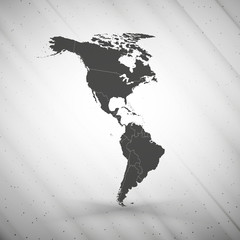 North and South America map on gray background, grunge texture