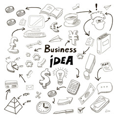 Business Idea doodles icons set.