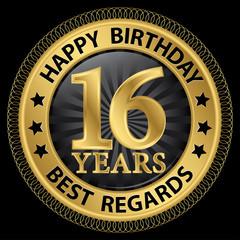 16 years happy birthday best regards gold label,vector illustrat