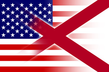 USA and Alabama State Flag