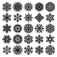 Decorative snowflakes. Black on white. Set 2