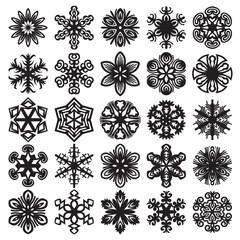 Decorative snowflakes. Black on white