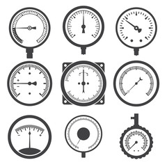 Manometer (pressure gauge) and vacuum gauge icons