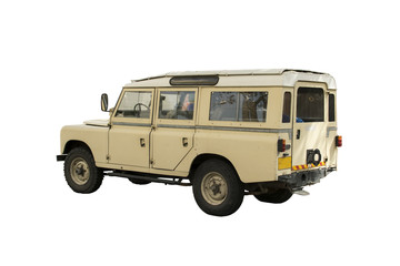 Retro beige jeep 4x4 - with path for make selection