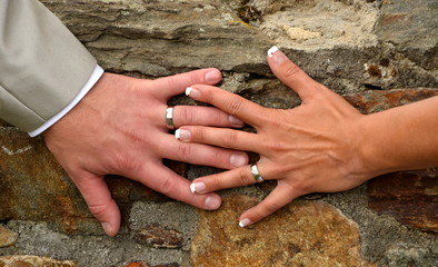 hands decorated with wedding rings