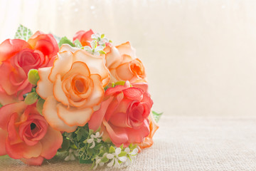 Rose flowers decoration made with pastel tones
