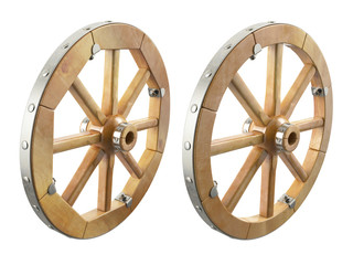 Wooden wheel. 3D isolated