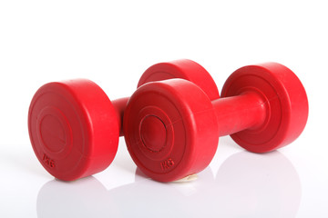 Red dumbbells weight