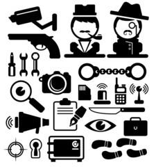 Detective icons vector set