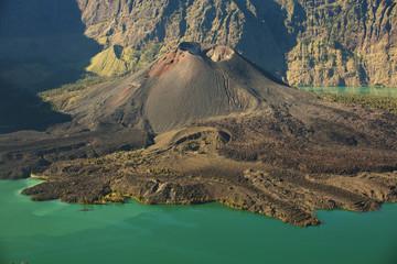 Jari Baru volcano and lake inside  Rinjani mountain, Lombok, Ind