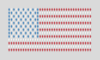 vector american flag with many man figurines texture