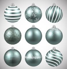 Set of realistic dim christmas balls.