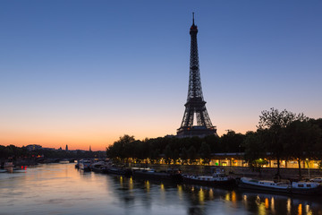 Eiffel Tower and Seine River before Dawn in Paris, France
