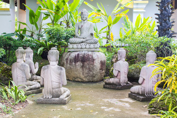 Buddha statues with five Brahmin statues