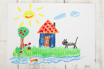 drawing oil pastels: country house
