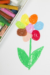 drawing oil pastels: colorful flower