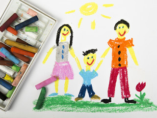 drawing oil pastels: happy family