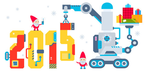 Vector horizontal illustration of the gnome operates the machine