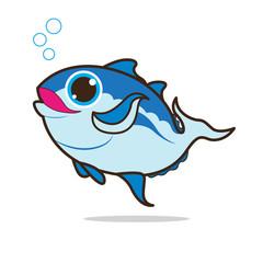 tuna fish cute cartoon eps 10 vector