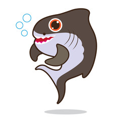 Shark fish cute cartoon eps 10 vector