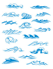 Ocean or sea waves, surf and splashes set