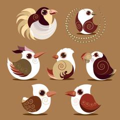 Bird set collection prehistoric color eps 10 vector