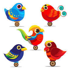 Bird cute set collection  colorful eps 10 vector