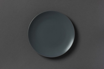 Top view of grey empty plate on dark background