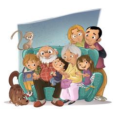 familia en el sofá