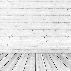 White brick wall and wooden floor, abstract interior background