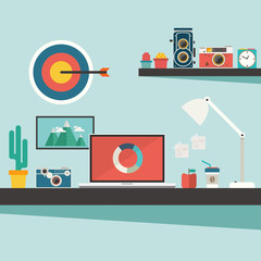 work desk with accessories and vintage camera on flat design con