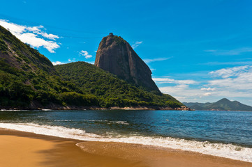 View of Sugarloaf Mountain from the Red Beach in Rio