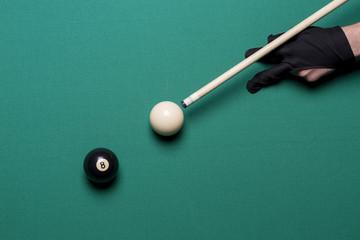 Billiard balls in a pool table. Eight ball