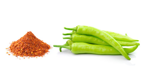 Sweet pepper and cayenne pepper  isolated on a white background