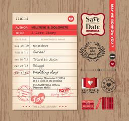 Library card Wedding Invitation design background
