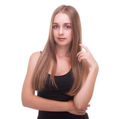 Fototapete - Smiling girl in black shirt on white background