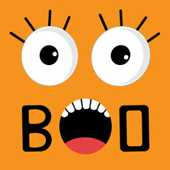 Scary face emotions boo. Happy Halloween card. Flat