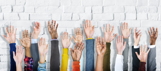Group of Diverse People's Hands Raised