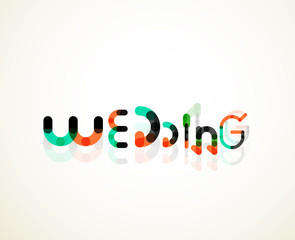 Wedding word font concept design
