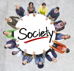 People Holding Hands Around Letter Society