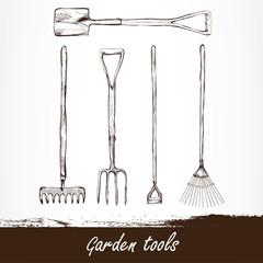 vector illustration of gardening tools. Hand drawn design