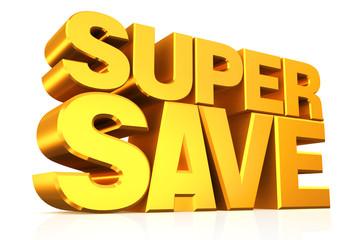 3D gold text super save.