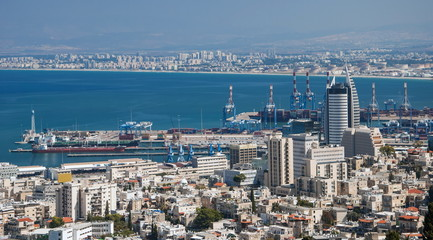 View of the city and the port of Haifa in Israel