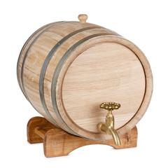 New clean oak wooden barrel on rack
