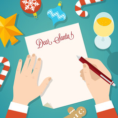 Letter to Santa Flat Style Christmas Vector Card or Background